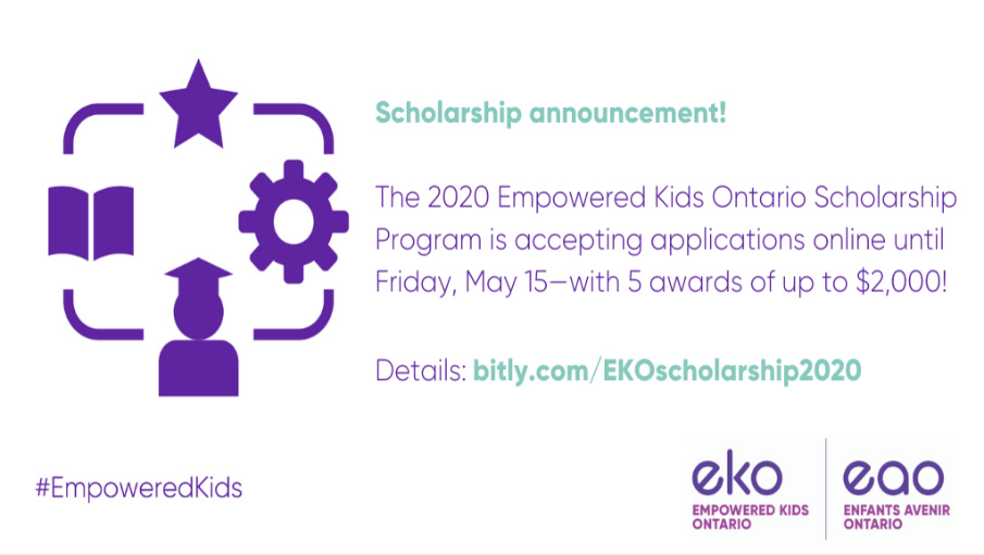 Applications Now Accepted for Empowered Kids Ontario (EKO) Scholarships