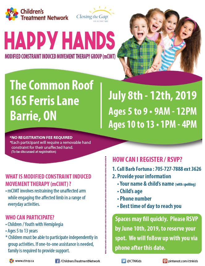 Happy Hands Modified Constraint Induced Movement Therapy (mCIMT) Camp - Barrie