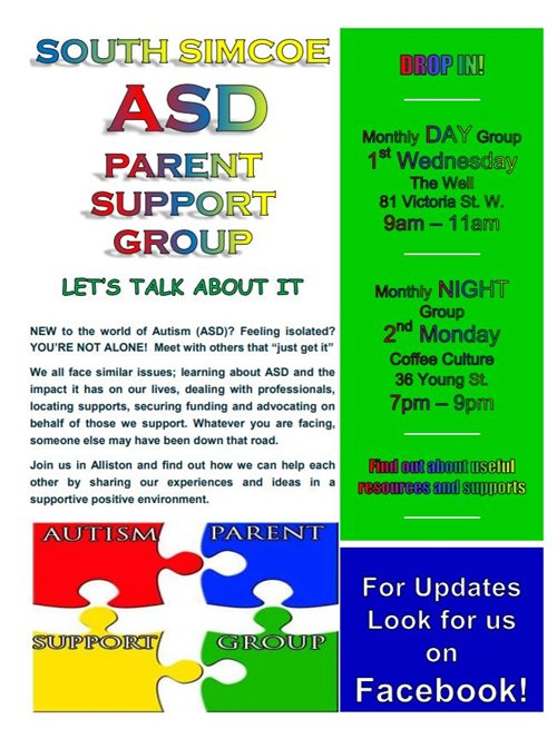 South Simcoe ASD Parent Support Group- Alliston