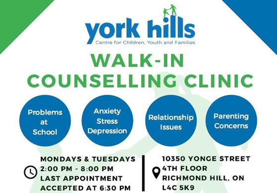 York Hills Centre for Children, Youth and Families Walk-In Counselling Clinics- Richmond Hill